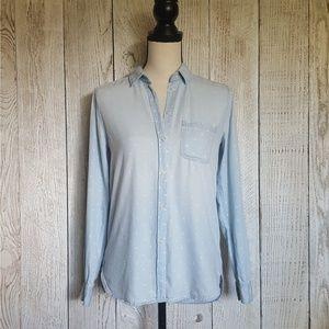 American Eagle Chambray Polka Dot Shirt XS